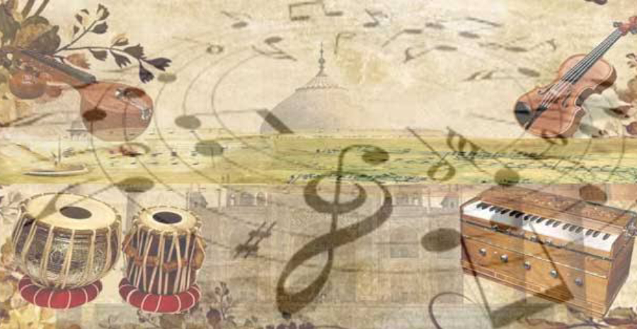 Showing Classical Music Instruments in a pale brown background.