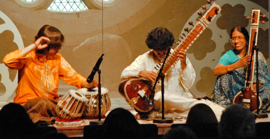 Great Hindustani Classical Musician Playing Sitar During A Concert.